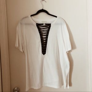 F21 Deep V Lace Up Tee - Plus Size!